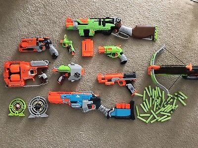 Huge Nerf Zombie Strike Lot Of 9 Guns/blasters And Ammo