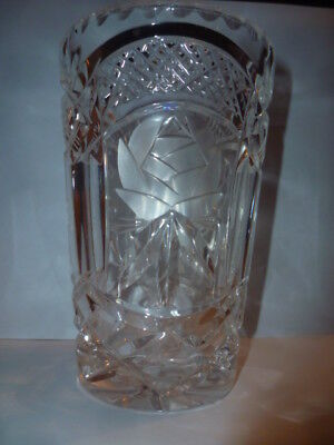 Beautiful Cut Glass Crystal Vase With Rose Design