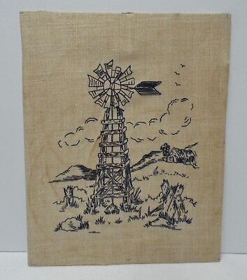 """Vintage 1976 Embroidered Linen Needlework """"Farm Scene with Windmill"""" Picture"""