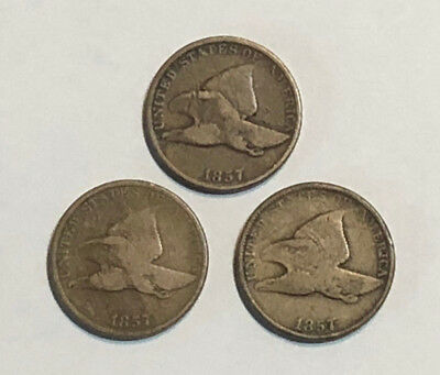 Lot of 3 1857 1C Flying Eagle Cents