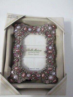 New in Box Belle Maison. Purple Pink Genuine Crystals Jeweled Picture Frame  2x3