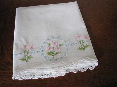 Vintage Single Pillowcase Embroidered & Crocheted A Garland Of Aster Wreaths Wow
