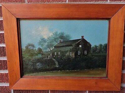 Antique VICTORIAN English COUNTRY Home MOONLIGHT Trees Robin Egg Blue Sky Oil
