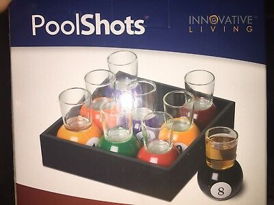 Billiards Pool Ball Shot Glass Set 9 Pieces Removable Glasses 8 Ball 9 Ball NEW