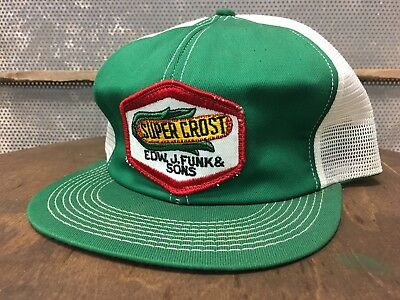 Vintage SUPER CROST Mesh SnapBack Trucker Hat Patch K BRAND Made In USA