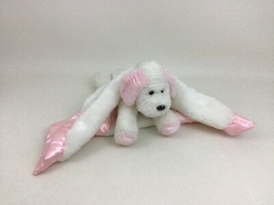 "My Bankie Pink White Dottie Puppy Dog Baby 15"" Security Blanket Plush Lovey Toy"