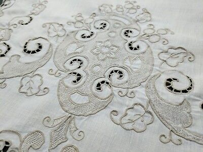 """Vintage Table Runner Embroidered Madeira Embroidery Linen 16"""" x  40""""  Ecru Taupe"""