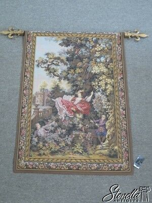 L42436: French Hanging Wall Tapestry w. Hanging Rod