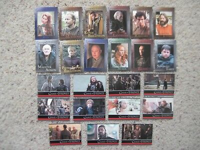 GAME OF THRONES CARDS Season 1 TV SHOW 23 Base Cards with #1 2012 Rittenhouse