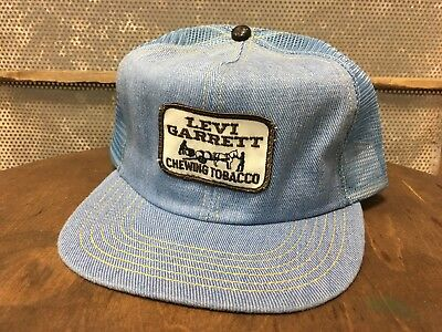 Vintage LEVI GARRETT Tobacco Denim Mesh SnapBack Trucker Hat Patch Made In USA