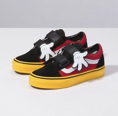 9302f6763a6 Vans x Disney Old Skool V Mickey Mouse Hug Black Red Yellow Toddler Infant  Size