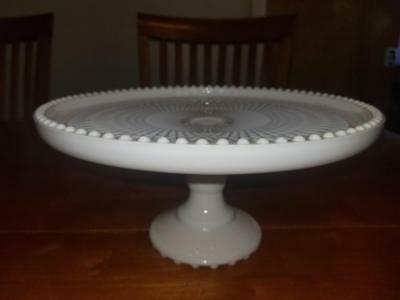 Vintage Pink Milk Glass Cake Stand