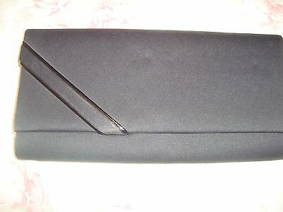 1970/80's  BLACK CLUTCH BAG with 2 PATENT LINES ACROSS FRONT & MIRROR.