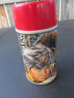 Daniel Boone metal thermos Fess Parker Tv show 1965 Wow great graphics