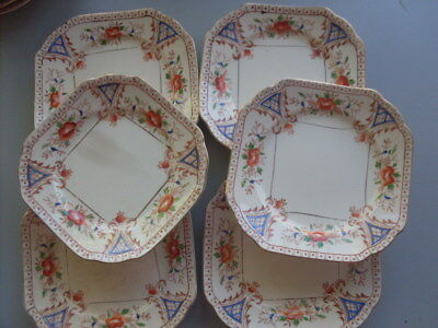 6 Porcelain side plates, antique hand painted, good condition.