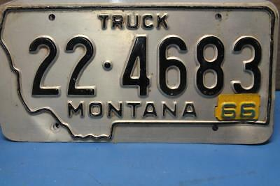 Vintage 1966 Montana License Plate Tag # 22 4683 Big Horn County Metal Date Tab