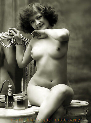 """Vintage Nude Woman with Crossed Legs 8.5x11"""" Photo Print B&W Naked Female"""