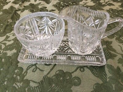Crystal Glass Vintage Butter Plate Creamer Pitcher  Sugar Bowl Old Heavy glass