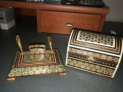 Vintage Persian Khatam Marquetry Inlaid Mosaic Pen holders and Box Set