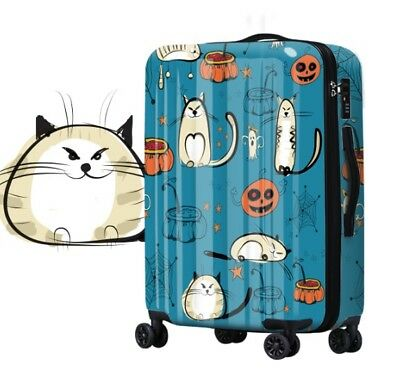 E187 Cartoon Cat Universal Wheel ABS+PC Travel Suitcase Luggage 20 Inches W