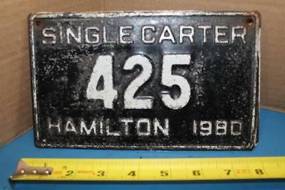Vtg 1980 Single Carter Hamilton Ontario Canada 425 Motorcycle Size License Plate