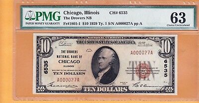 $10 1929 The Drovers National Bank Chicago Illinois PMG 63 serial # A000027A