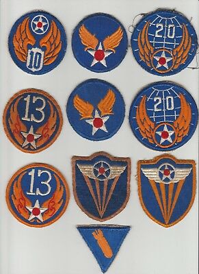 10 WW II Army Air Force AAF patches 4th  10th 13th 20th HQ