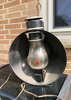 ANTIQUE C.T. HAM MFG CO No 20 INSPECTOR LAMP LANTERN Clear GLASS Globe Electric