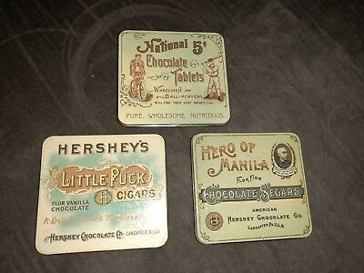 Lot Of 3 Hershey Tins Hero of Manila Flor Finn Chocolate Segars 1982 Vintage