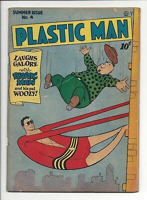PLASTIC MAN #4 VG- (1946) Jack Cole Cover, Quality Comics, No Restoration