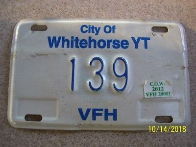 City of Whitehorse YT Yukon Territory license plate 2012 VFH Vehicle for Hire