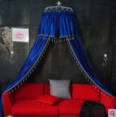 Queen Size Blue Ceiling Mosquito Net Bedding Bed Curtain Netting Canopy