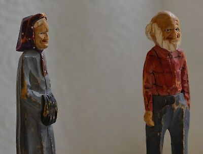 Vintage Matching Pair Folk Art Carved Old Man and Woman