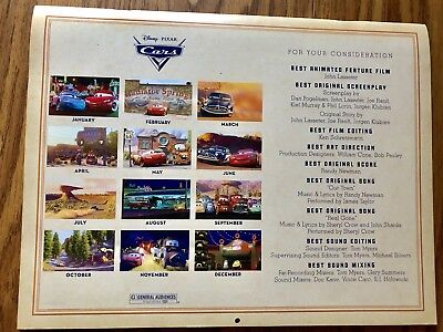 ORIGINAL CARS Calendar DISNEY PIXAR For Your Consideration 2006/2007