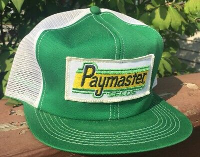 Vintage PAYMASTER SEEDS Mesh SnapBack Trucker Hat Patch K PRODUCTS Made In USA