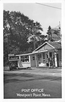Westport Point MA Post Office Mobil Gas Station, RPPC