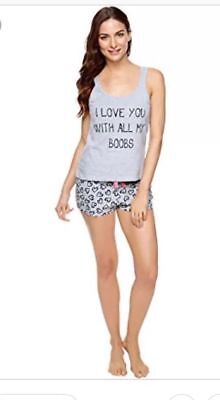 Ann Summers all my boobs set Shorts & Vest Nightwear Pyjamas Pj 16-18 Grey bnwt