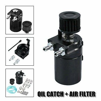 Oil Catch Reservoir Breather Can Tank +Filter Kit Cylinder Aluminum Engine Black