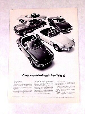 1969 VW Volkswagen Karmann Ghia Print Ad Can You Spot The Druggist From Toledo?