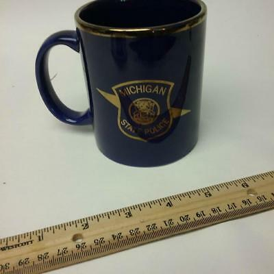 Original Michigan State Police coffee cup gold colored Logo preowned