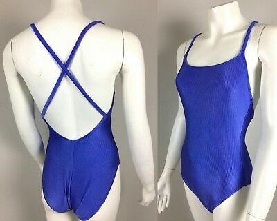 Vintage 1990s 90s Catalina Ribbed Shiny Purple One Piece Swimsuit Criss Cross S