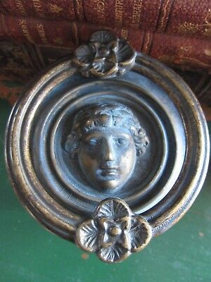 Antique Classical Revival Deity Brass Door Knocker