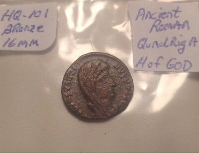 "Ancient Roman Bronze Quadriga ""Hand Of God"" 16mm Coin Nice Condition"