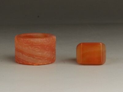 Chinese Exquisite Hand-carved agate Ring A Pair