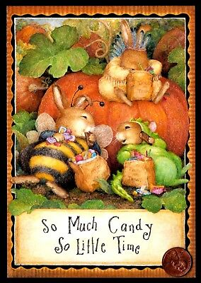 Halloween Susan Wheeler Bunny Rabbits Candy Pumpkin Costumes Greeting Card - NEW