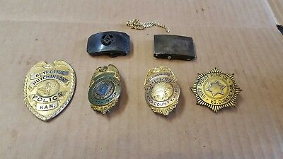 Vintage Police Badge Seals Lot Of 4 Plus Vint. Buckles