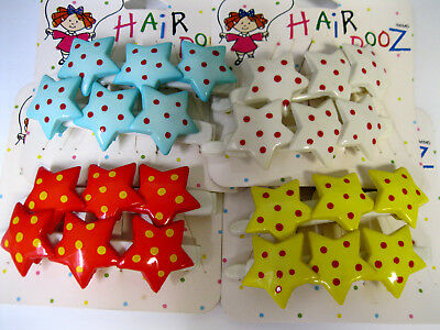 Vtg New You Choose Color Girls Women Large Hair Barrette Star Polka Dot Clips