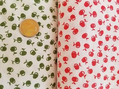 Vintage European Twin Duvet Covers Tiny Apples Set of 2 Red & Green