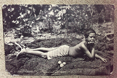 antique ALBERTYPE POSTCARD ERNEST MOSES PHOTO HAWAIIAN BOY