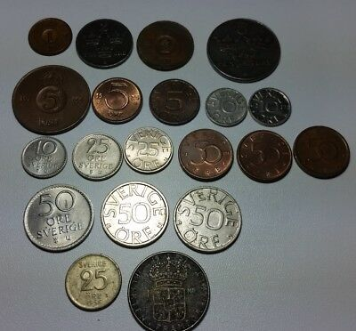 Sweden lot of 20 different coin types including 2 silver coins
